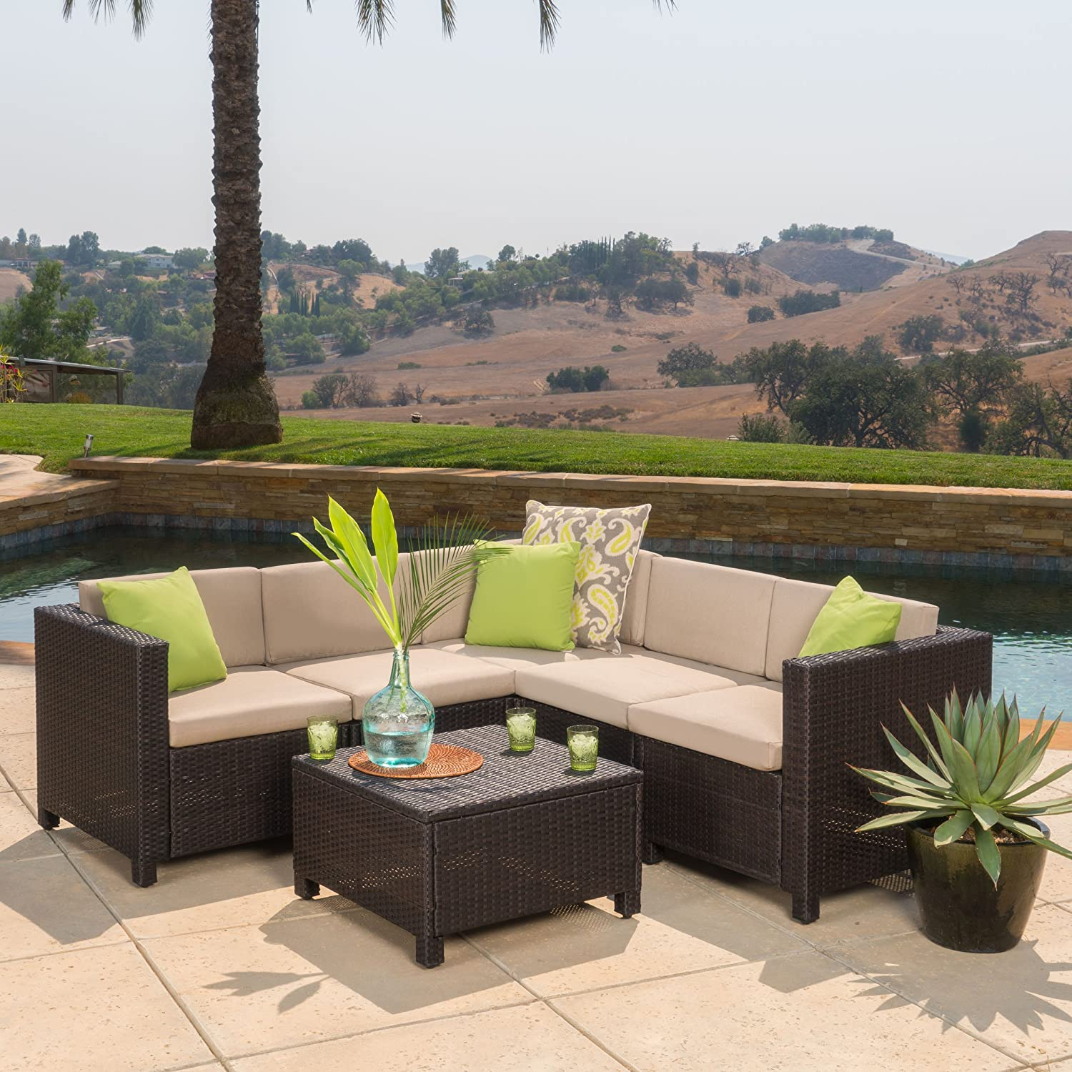 Amazon Venice Outdoor Patio Furniture Wicker Sectional Sofa