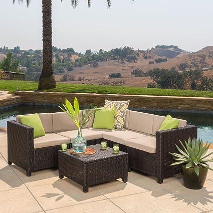 Amazon Com Venice Outdoor Patio Furniture Wicker Sectional Sofa Set