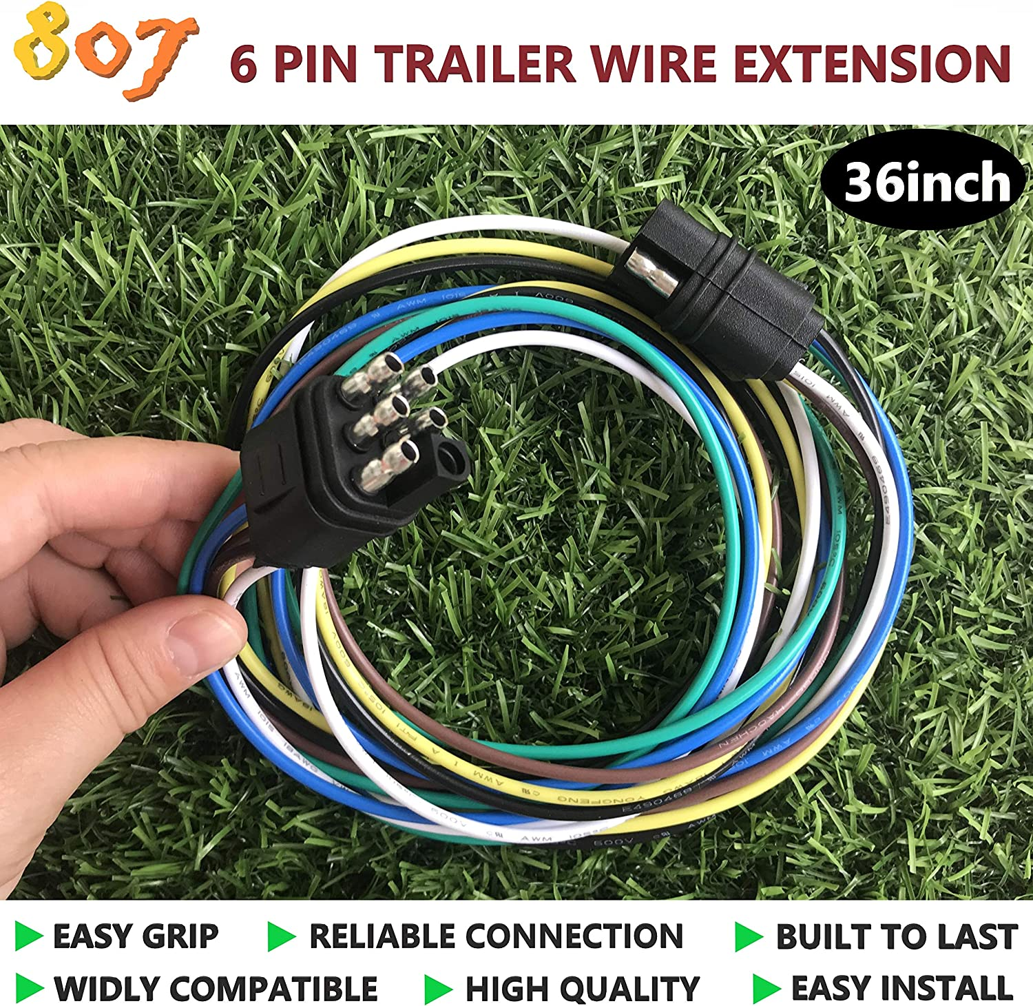 3-Way Flat 2//3//4//5//6//8 Way Trailer Wire Extension 36inchs for LED Brake Tailgate Light Bars,Hitch Light Trailer Wiring Harness Extension Connector 3 Way Flat 807 2//3//4//5//6//8 pin Trailer Connector