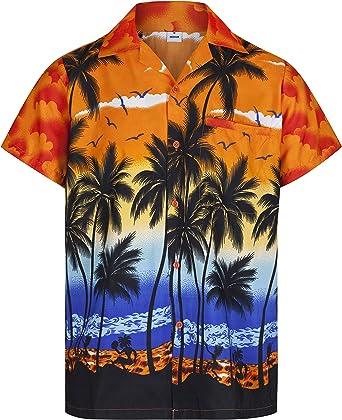 Redstar Fancy Dress - Camisa Hawaiana de Manga Corta - para Hombre - Palmeras - Todas Las Tallas - Naranja - 3XL: Amazon.es: Ropa y accesorios