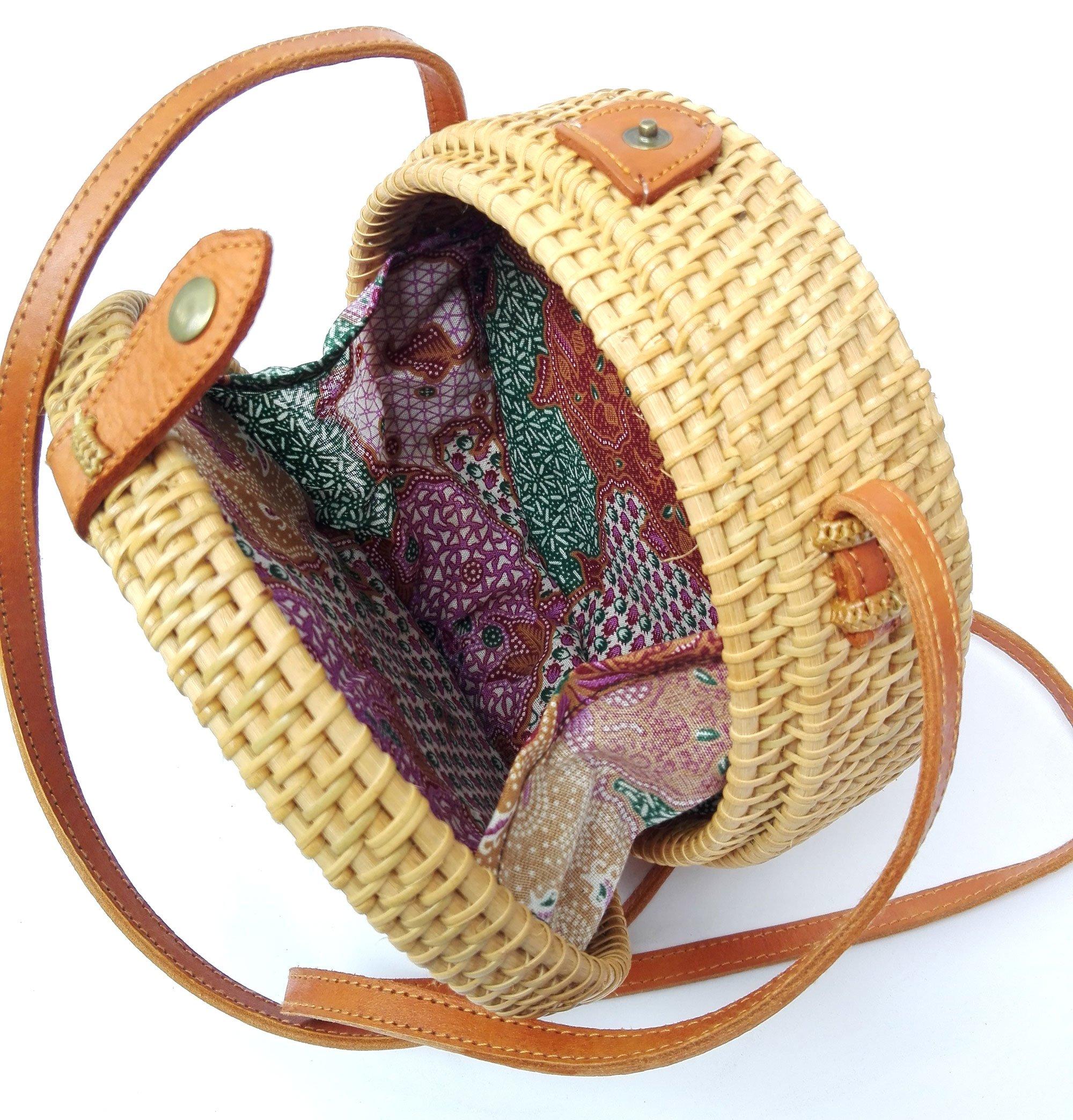 Bali Rattan - Handwoven Round Rattan Bag (Plain Weave Leather Closure) by Bali Rattan (Image #5)