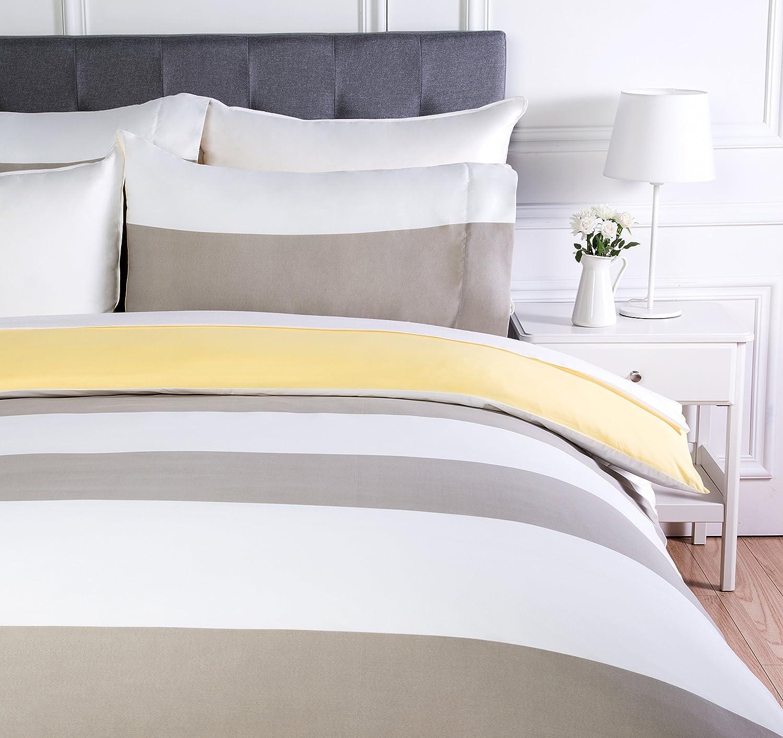 AmazonBasics - Juego de ropa de cama con funda de edredón, de microfibra, 135 x 200 cm, Gris raya reversible (Reversible Grey Stripe): Amazon.es: Hogar