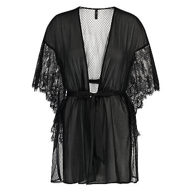 d9c0430026b Hunkemöller Women Chiffon Fine Lace Kimono XL/XXL Black: Amazon.co ...