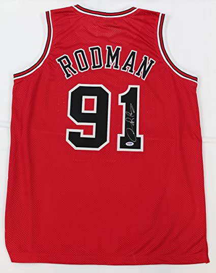 9549e7b2422 Dennis Rodman Autographed Red Chicago Bulls Jersey - Hand Signed By Dennis  Rodman and Certified Authentic