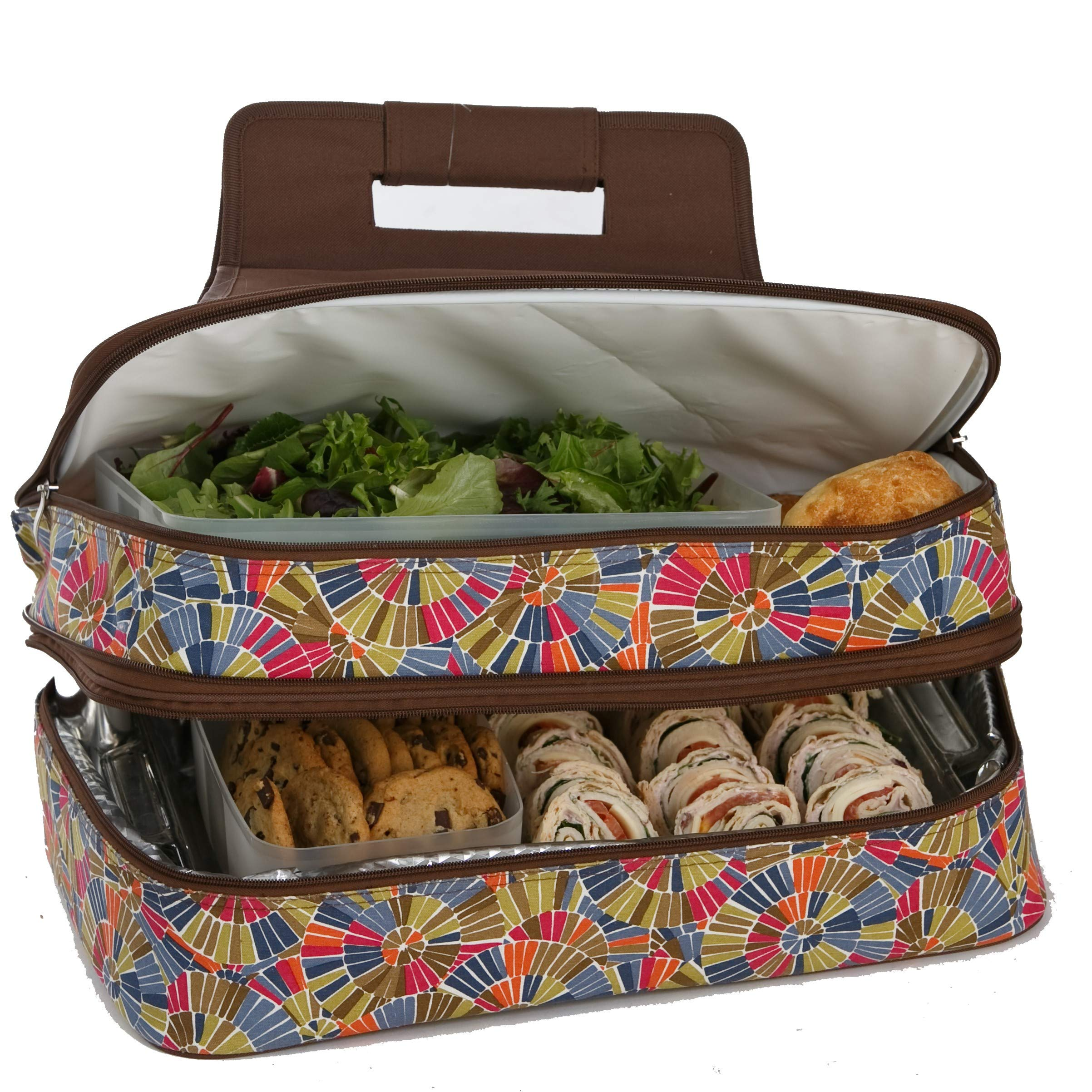 Picnic Plus 18'' Casserole Carrier 2 Level Thermal Insulated Hot and Cold Food Carrier Double Layer Food Carrier Bag Potluck Carrier With Bonus Containers (Kaleidoscope)