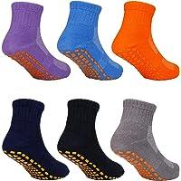 MaoXinTek Calcetines Antideslizantes para Niños Pequeños Algodón Lindo con Puños, Calentar 6 Pares de Zapatillas…