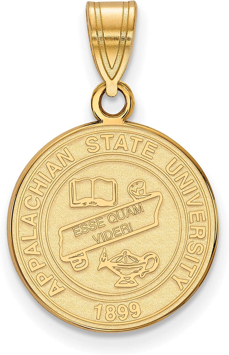 Appalachian State University Mountaineers School Crest Pendant Gold Plated Sterling Silver 16x15mm