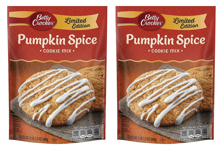 Betty Crocker Cookie Mix - Limited Edition Pumpkin Spice - Makes 3 Dozen Cookies Per Pouch - Net Wt. 17.5 OZ (496 g) Per Pouch - Pack of 2 Pouches