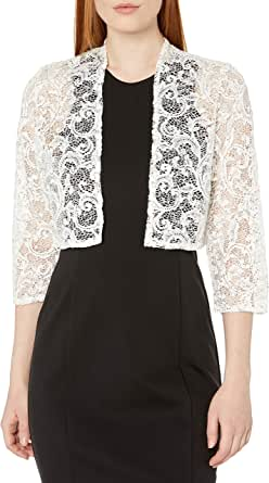 R&M Richards Women's 1 Piece Missy Size Laced Shrug with Glitter
