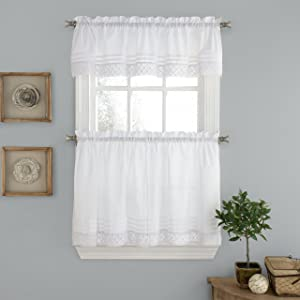 "LORRAINE HOME FASHIONS Pleated Crochet Window Tailored Valance, 56"" x 12"", White"