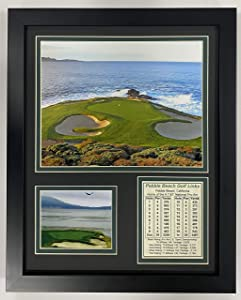 """Pebble Beach Hole #7 11"""" x 14"""" Framed Photo Collage by Legends Never Die, Inc."""