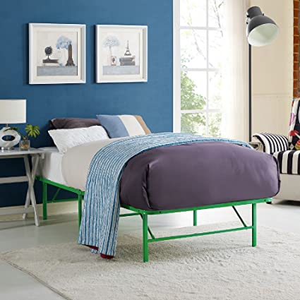 Delightful Modway Horizon Twin Bed Frame In Green   Replaces Box Spring   Folding  Portable Metal Mattress