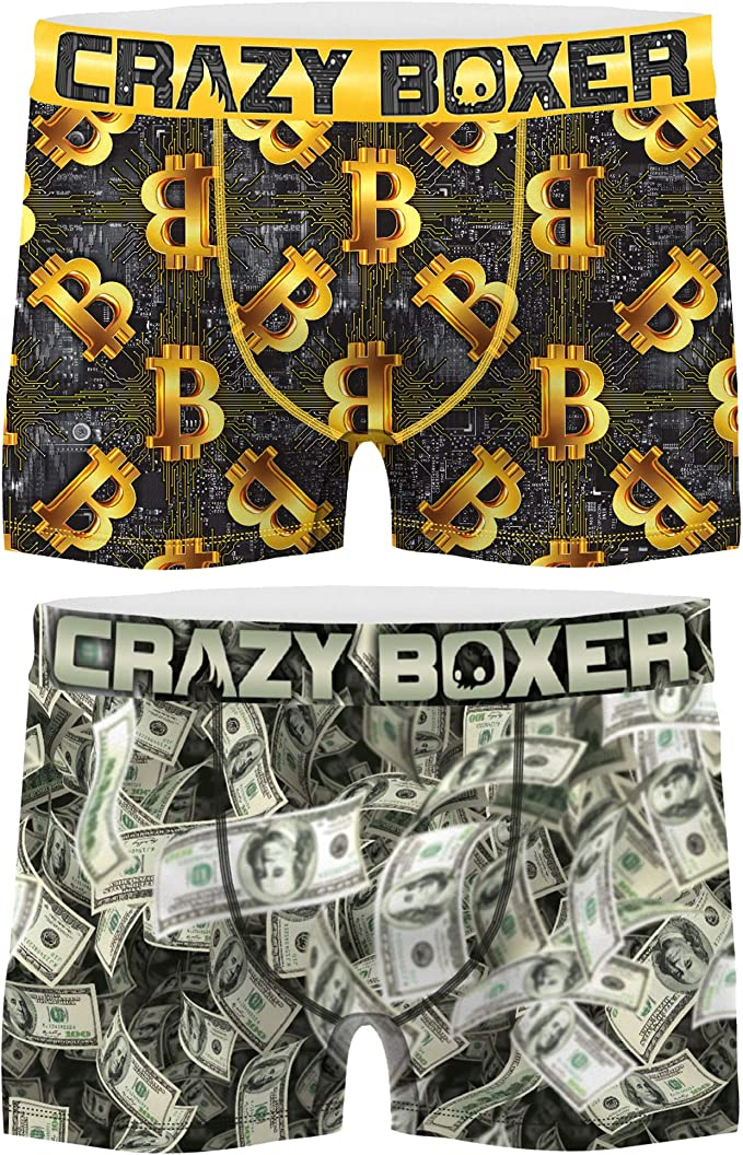 Crazy Boxer PK1773-M Talla M: Set 2 Boxers 2 pcs-Bitcoin + CASH-microfibra-92% poliéster Reciclado, 8% Elastano, Pack 2pcs PK1773, 8/10 para Hombre: Amazon.es: Ropa y accesorios
