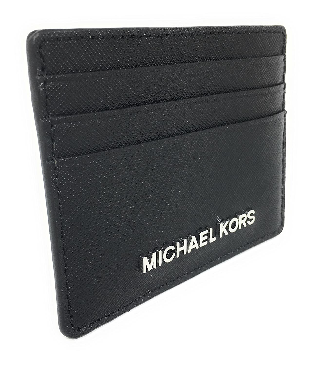 5e0016cce911 Michael Kors Jet Set Travel Large Saffiano Leather Card Holder (Black with  Silver Hardware) at Amazon Women s Clothing store