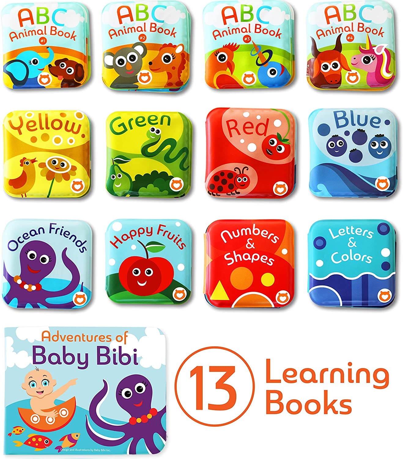 Learning Toy Books for Babies and Toddlers Baby Bath Books Mega Set Numbers and ABC Letters Colors - Educational Waterproof Baby Bathtime Plastic Books for Bath Tub with Animals Pack of 13 Books