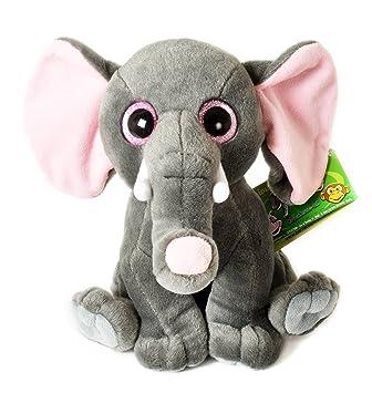 """Animales de la Jungla - Elefante gris de peluche con ojos brillantes 10""""/27cm"""