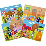 Sprogs Set of 4 Felt Storyboards w/ Storage Bag, 3 Little Pigs, Gingerbread Man, Goldilocks, Red Riding Hood, SPG-ENA1021-SO