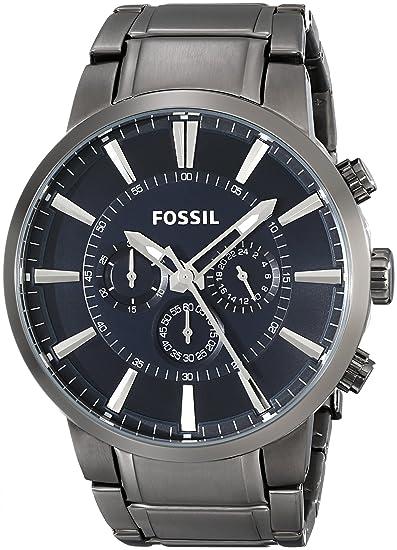 Fossil FS4358 - Reloj analógico de cuarzo para hombre con correa de acero inoxidable bañado, color negro: Fossil: Amazon.es: Relojes