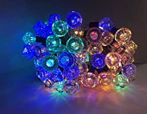 Solar String Lights Multicolor Outdoor Waterproof Christmas 32 ft 80 LED 8Modes Diamond String Lights colored Fairy String Lights for Yard Patio Garden Party Holiday Deco