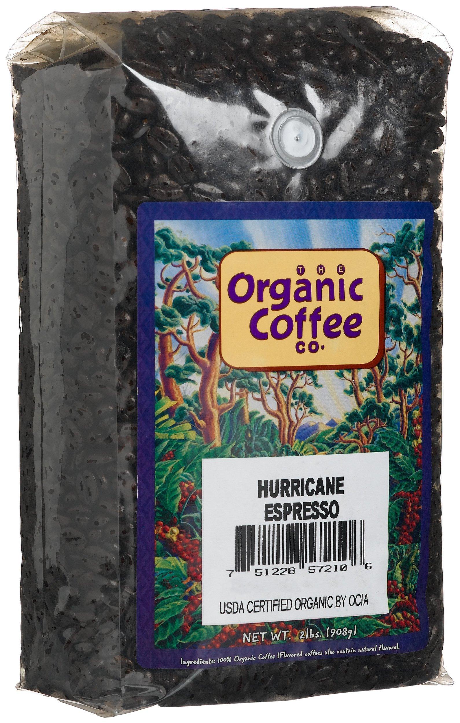 The Organic Coffee Co., Hurricane Espresso- Whole Bean, 2-Pound (32 oz.), USDA Organic