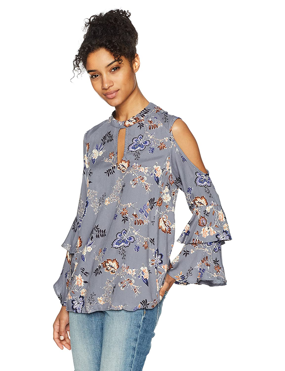 d95631b4447a9e Amazon.com  Angie Women s Blue Grey Printed Keyhold Cold Shoulder Top   Clothing