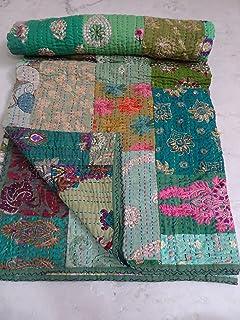 Amazon.com: Kantha Quilts Indian Handmade Kantha Quilt Queen Size ... : indian sari quilts - Adamdwight.com