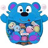 Herman Bear Infant Baby Bath Toy Organizer - Toddler Bath toy Storage Holder - Bath Toy Net Bag + heavy duty suction cups, Blue