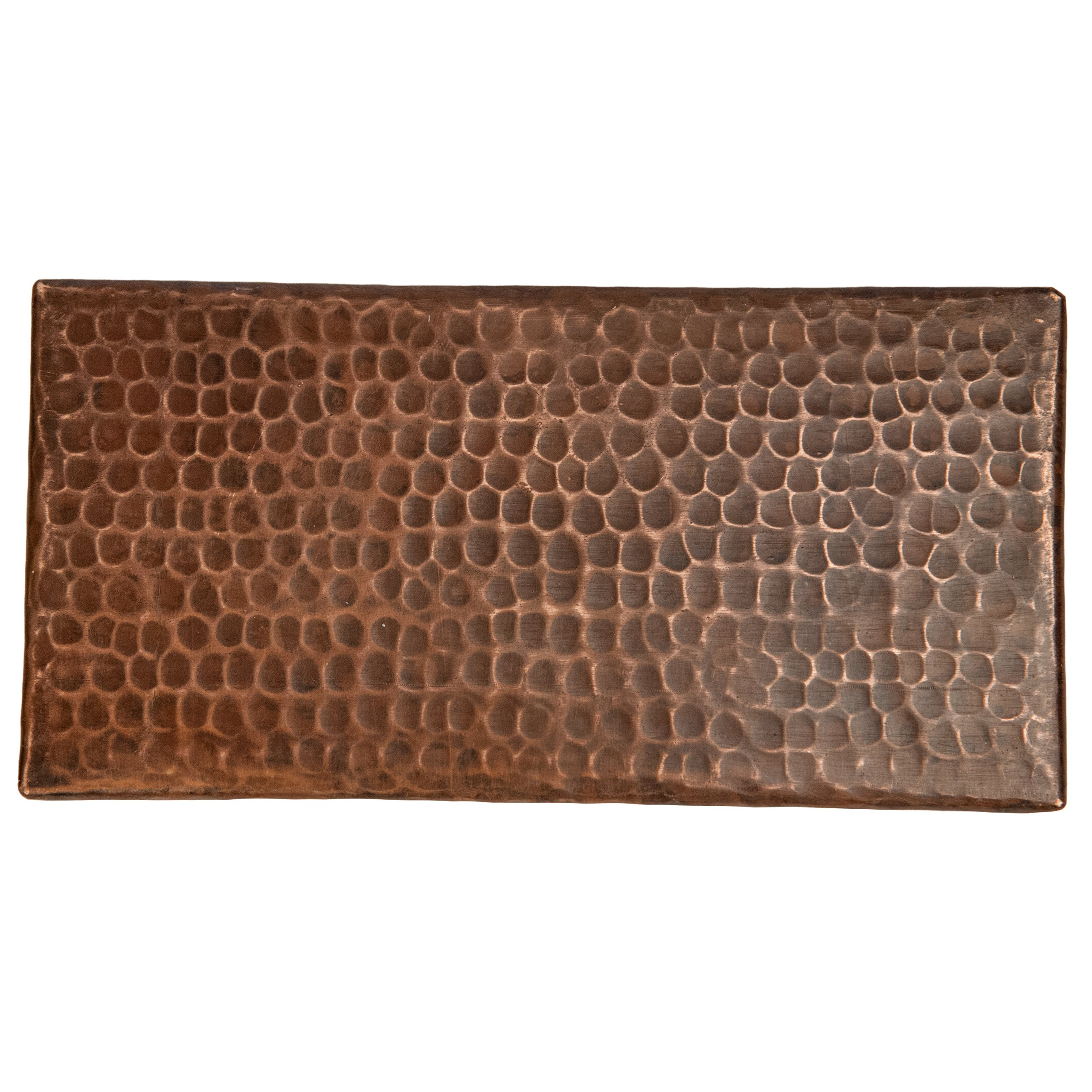 Premier Copper Products T48DBH_PKG4 4-Inch by 8-Inch Hammered Copper Tile - Quantity 4, Oil Rubbed Bronze