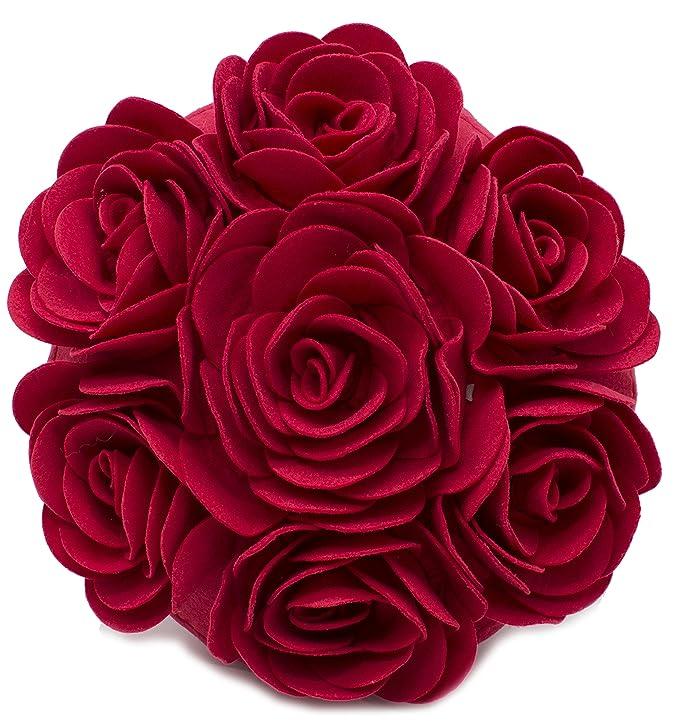 Fennco Styles Multi Rose Motifs Felt 15-inch Round Decorative Throw Pillow (Red, Case + Insert)