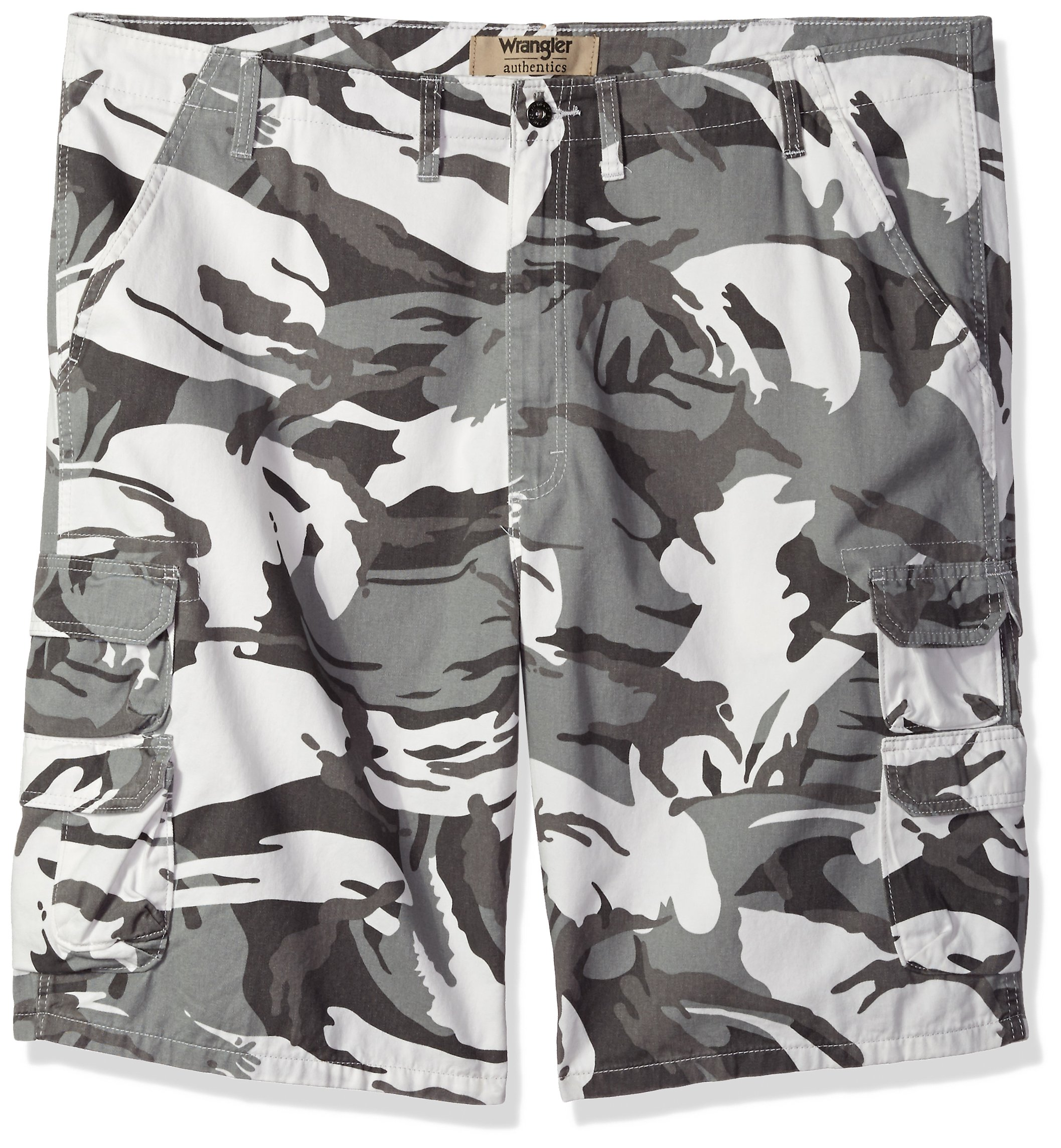 Wrangler Authentics Men's Big and Tall Premium Relaxed Fit Twill Cargo Short, White Camo, 44 by Wrangler (Image #1)