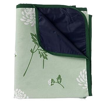 Manta de picnic de flores - 180 x 140 cm - color verde -