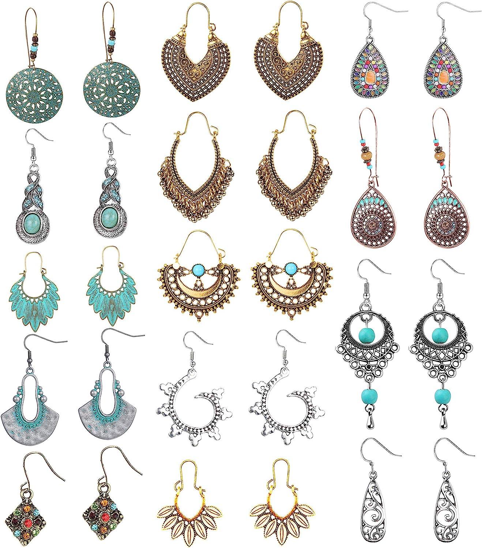 FIBO STEEL 14 Pairs Vintage Statement Bohemian Earrings for Women Gypsy Tribal National Style Hollow Water Drop Dangle Boho Retro Earrings Set