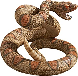 Design Toscano Western Diamond Back Rattlesnake Garden Animal Statue, 13 Inch, Polyresin, Full Color