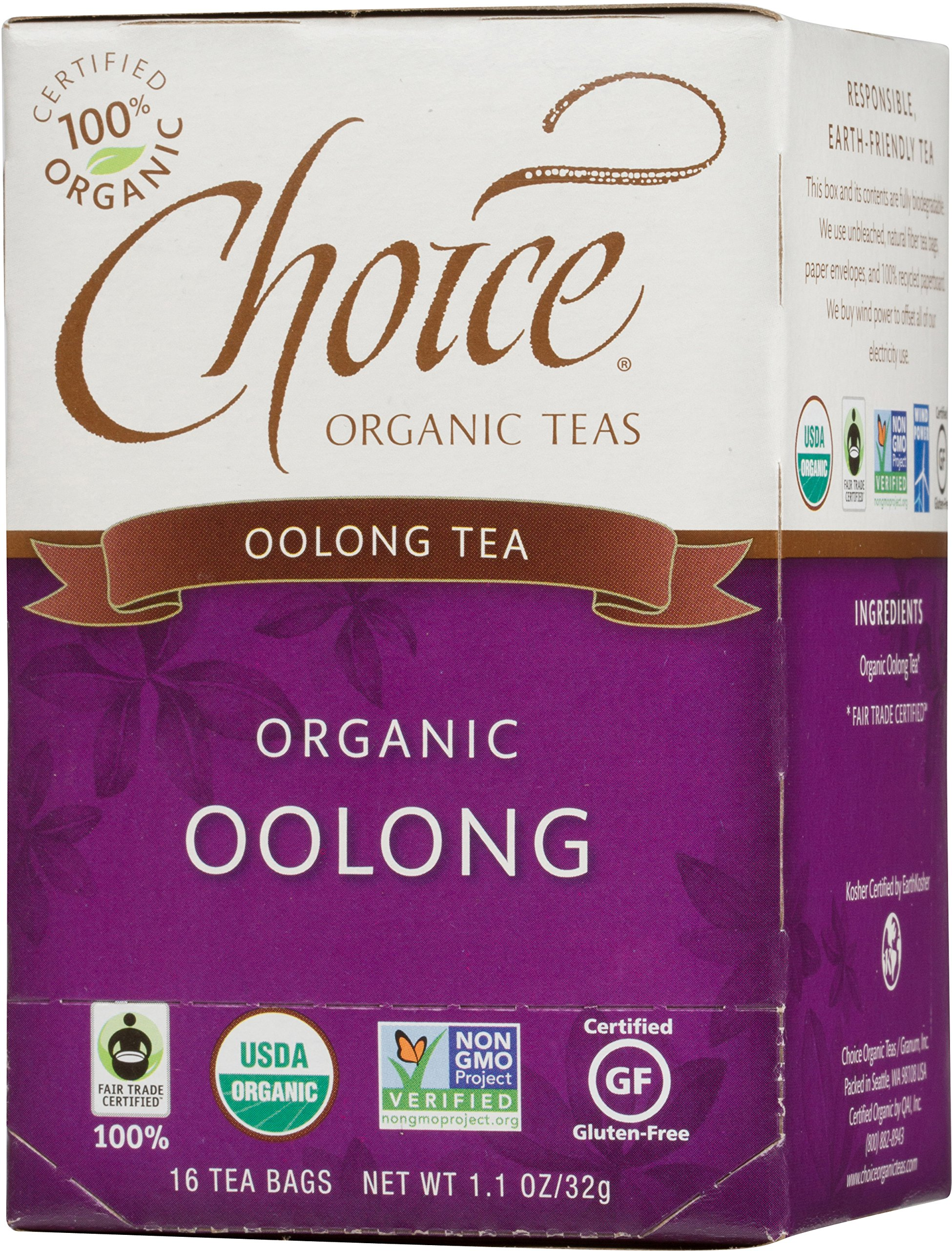 Choice Organic Teas Oolong Tea, 16 Count, Pack of 6