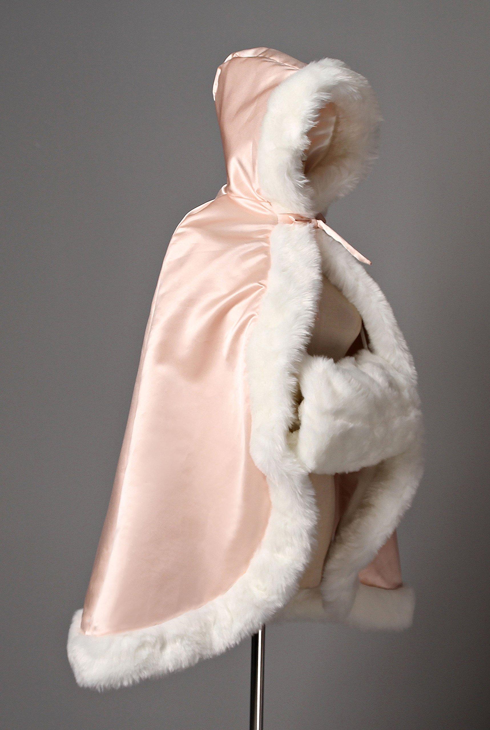BEAUTELICATE Flower Girl Cape Winter Wedding Cloak for Infant Junior Bridesmaid Hooded Reversible Ivory 44 by BEAUTELICATE (Image #7)