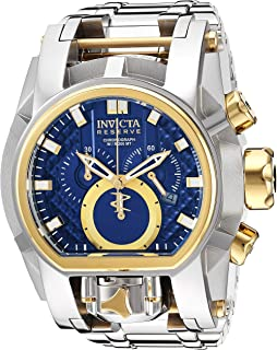Invicta Mens Reserve Quartz Stainless Steel Watch, Color:Silver-Toned (
