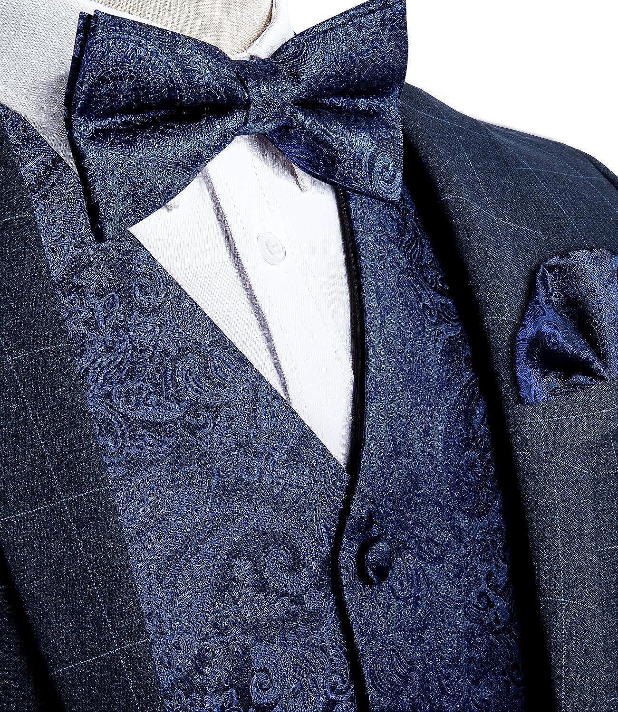 DiBanGu Mens Paisley Suit Vest Set Jacquard Formal Bow Tie Hankerchief Cufflinks Waistcoat Wedding