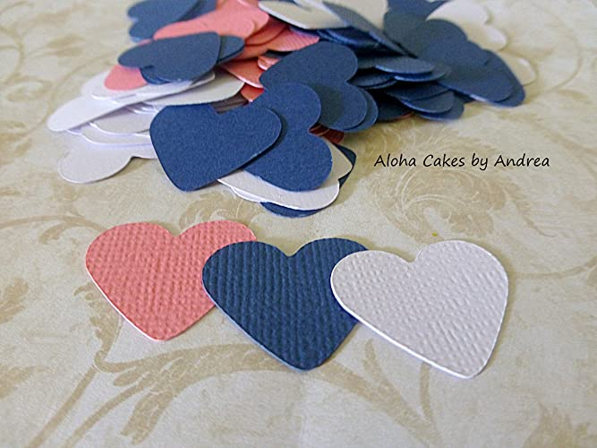 navy coral and white heart confetti wedding table decorations bridal shower ideas