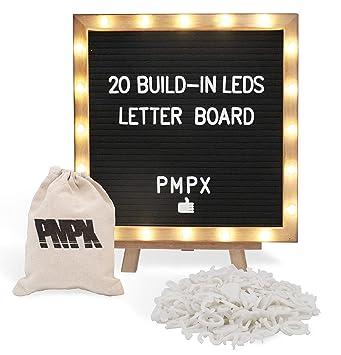 Amazon.com: Pizarra de letras de fieltro con 20 luces LED ...
