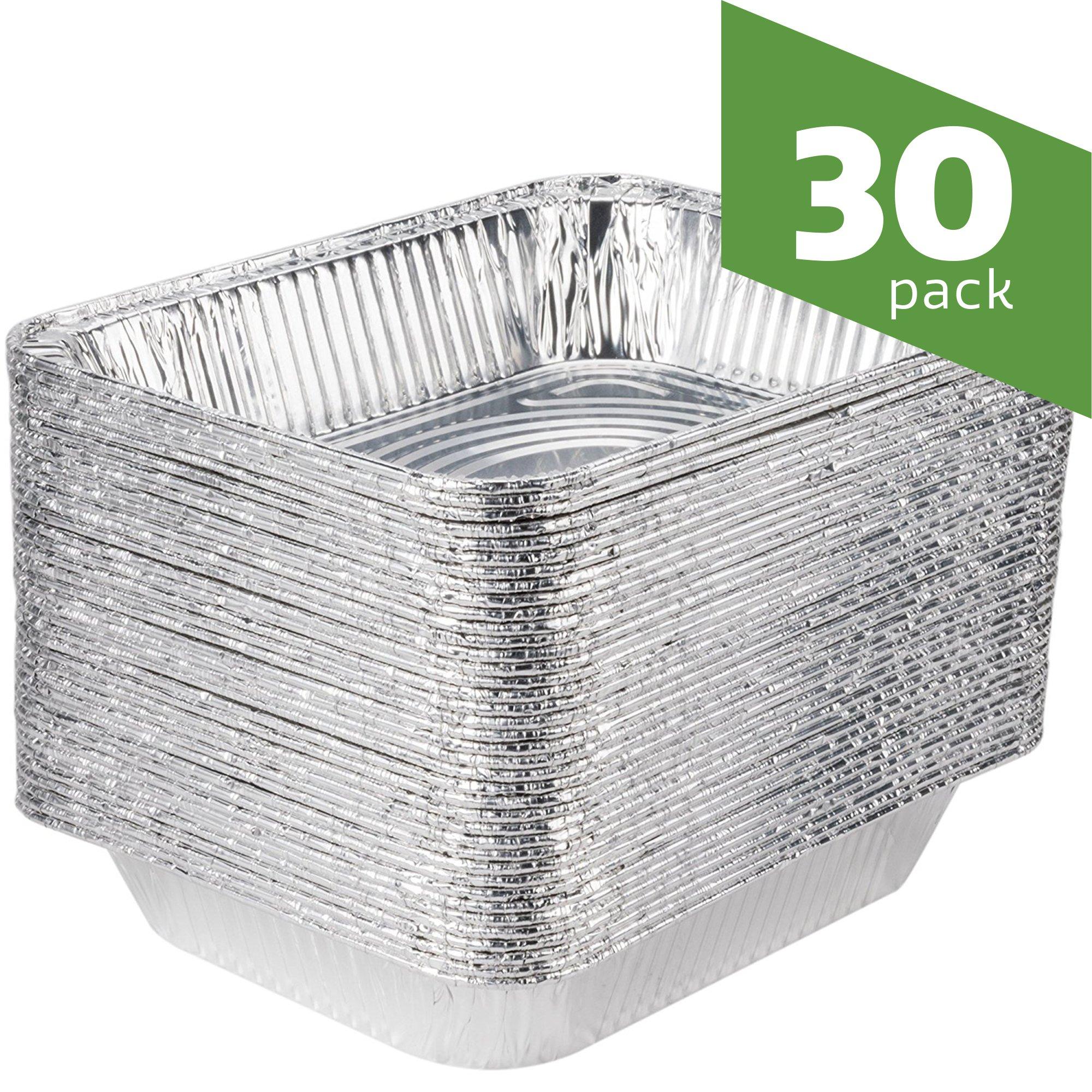 9 x 13 Aluminum Foil Pans [30 Pack] Half Size Deep Steam Table Pans by Comfy Package
