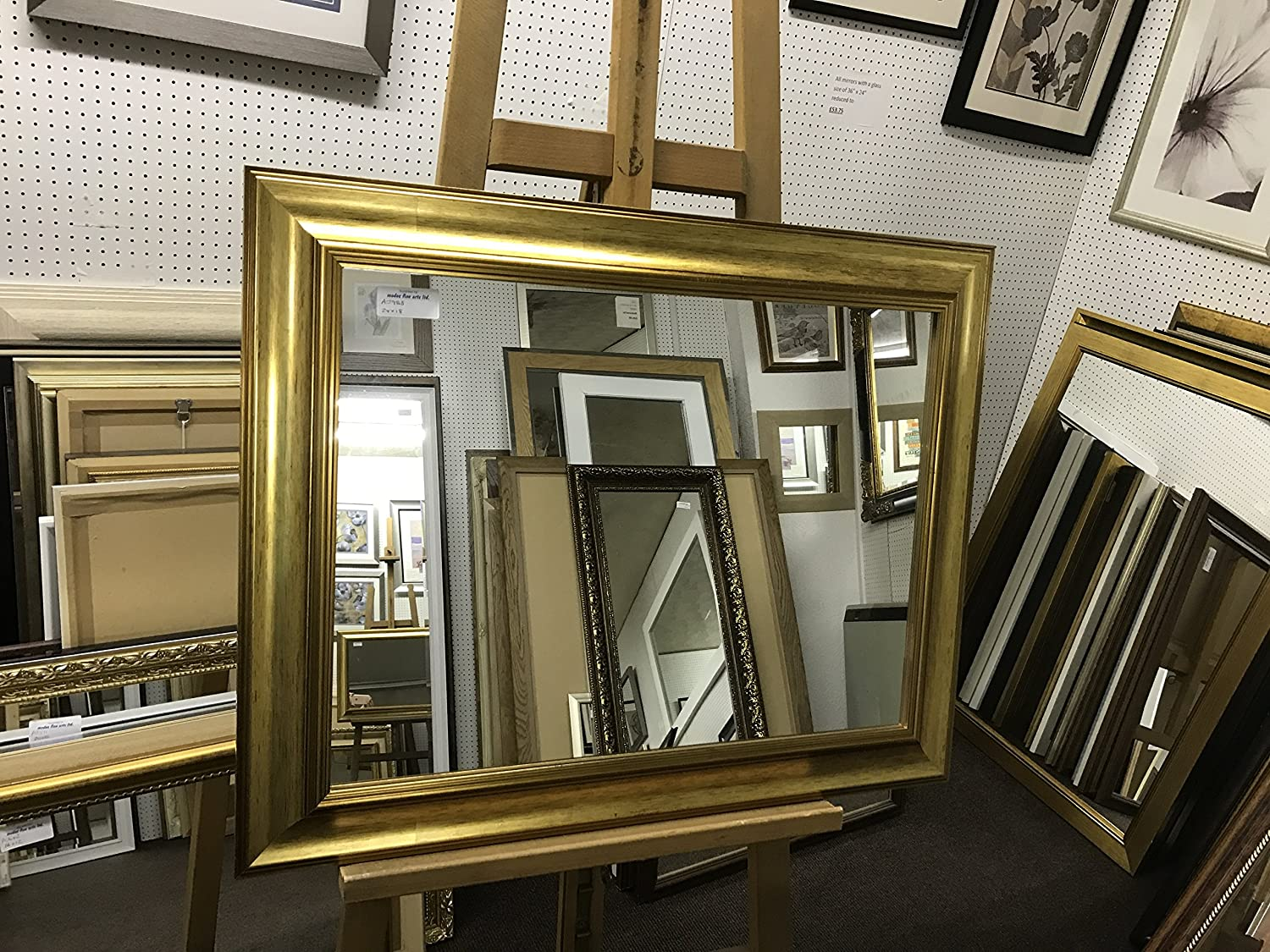 NEW MODERN PLAIN SHAPED GOLD WALL OVERMANTLE MIRRORS - VARIOUS (Bevel Mirror Glass, 26