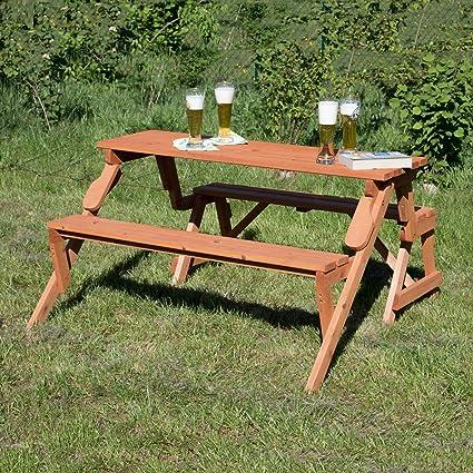 Directachat56 Banc de Jardin Bois Massif, Transformable en Table Pique-Nique
