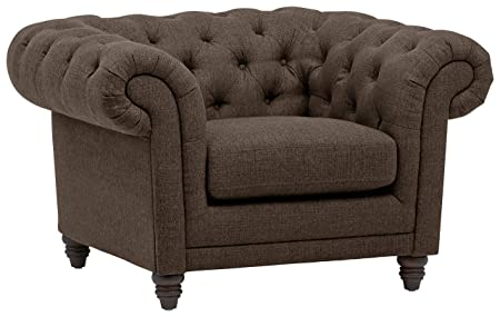 Stone Beam Bradbury Chesterfield Oversized Tufted Accent Arm Chair, 50 W, Warm Grey