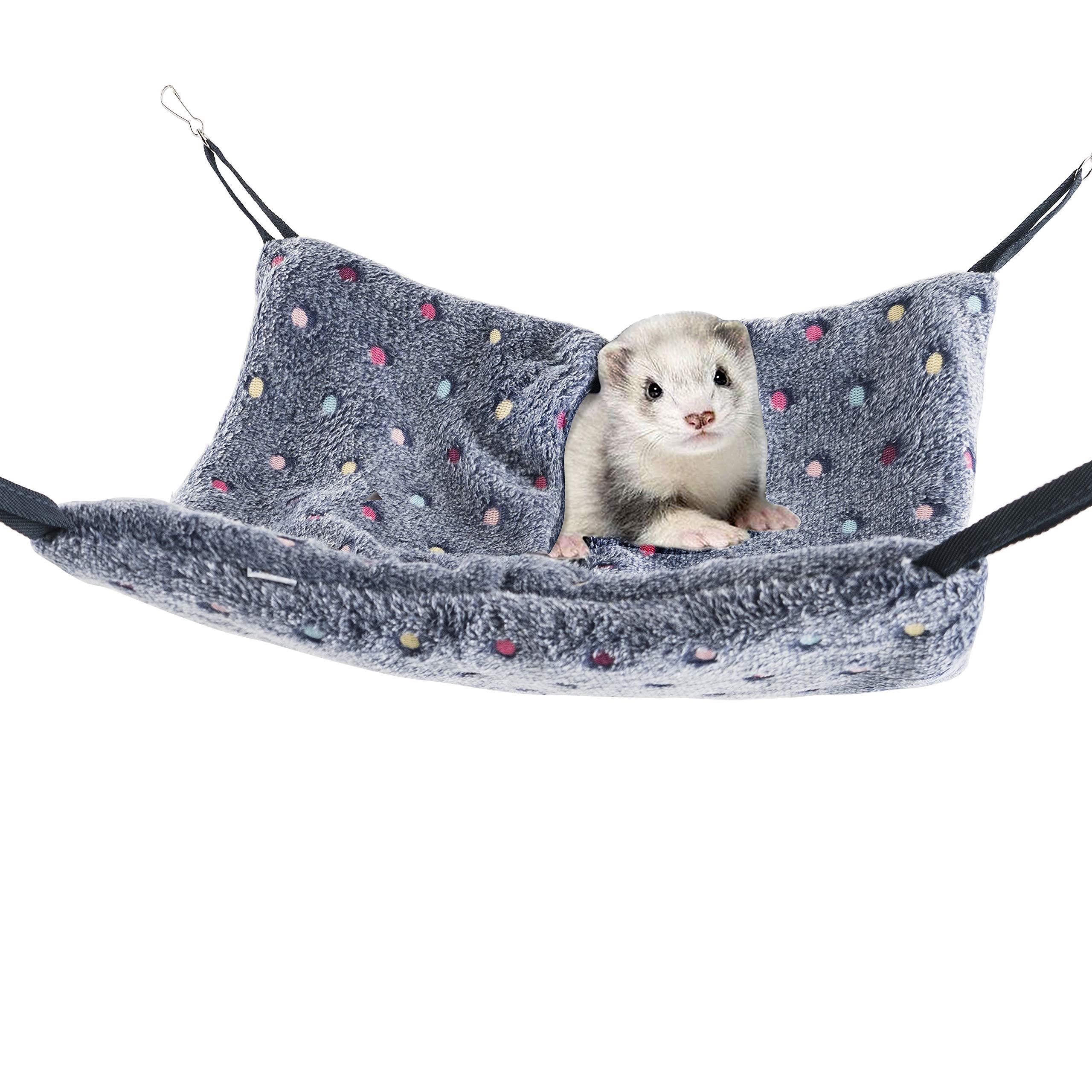 Niteangel Hanging Hammock Nap Sack Swing Bag Pet Sleeper for Ferret Rat Sugar Glider and Other Small Animals (Blue, Polka-dot) by Niteangel
