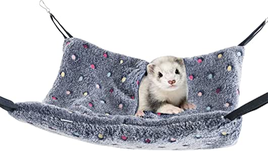 Niteangel Hanging Hammock Nap Sack Swing Bag Pet Sleeper for Ferret Rat Sugar Glider and Other Small Animals (Blue, Polka-dot)