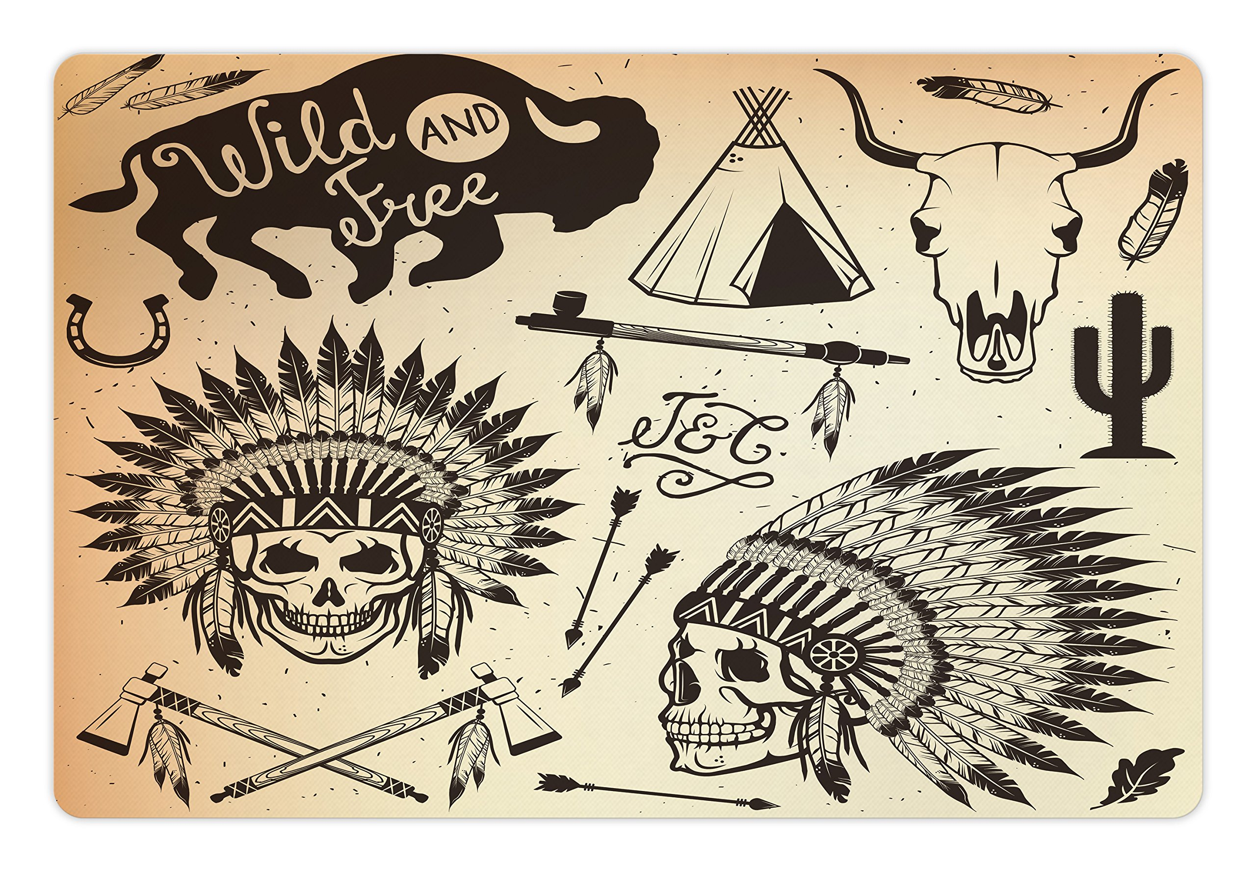 Lunarable Tribal Pet Mat for Food and Water, Wild and Free Concept Native Culture Elements Arrows Animals, Rectangle Non-Slip Rubber Mat for Dogs and Cats, Pale Orange Pale Yellow Dark Brown
