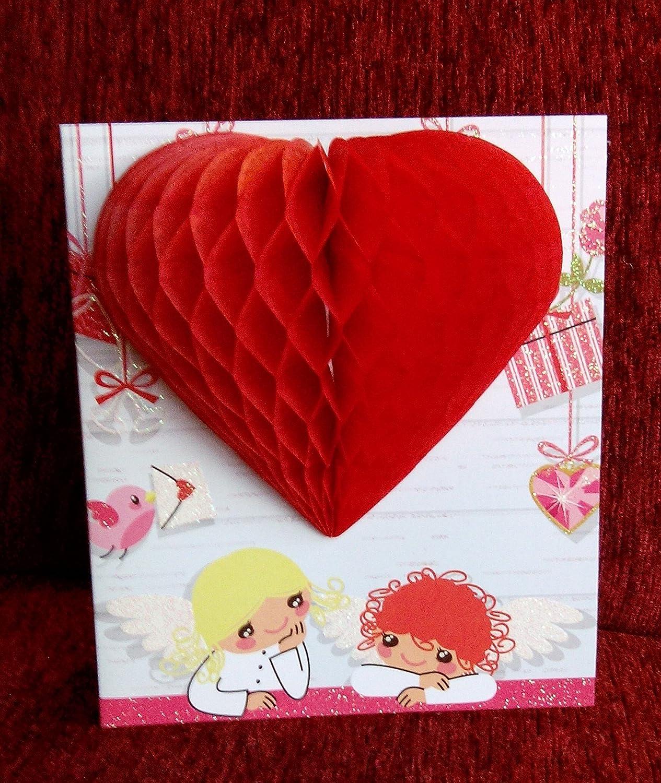 POP UP 3D Glitter decoración Tarjeta de San Valentín - querubín ...
