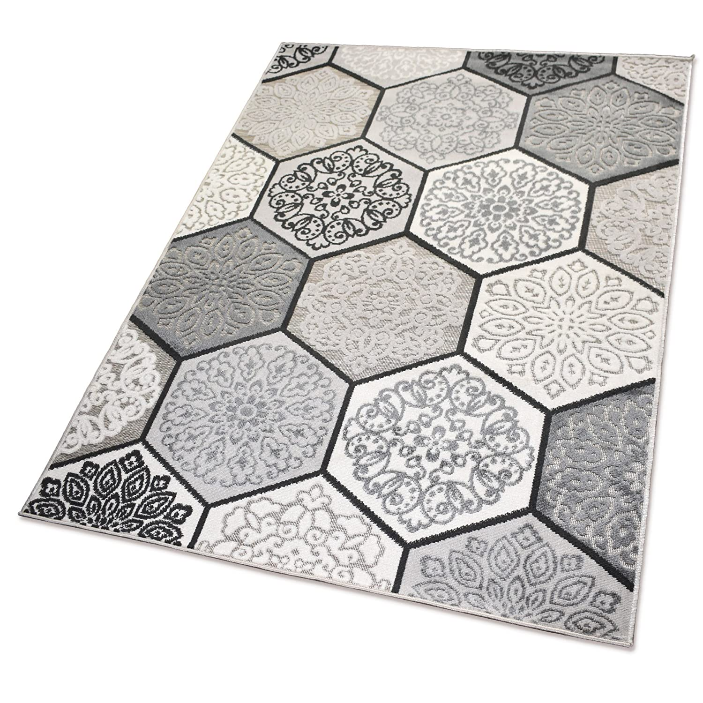 Balta Rugs in- und Outdoor-Teppich Classic Hexagon Tiles Grau L 160x230cm für Innen und Außen