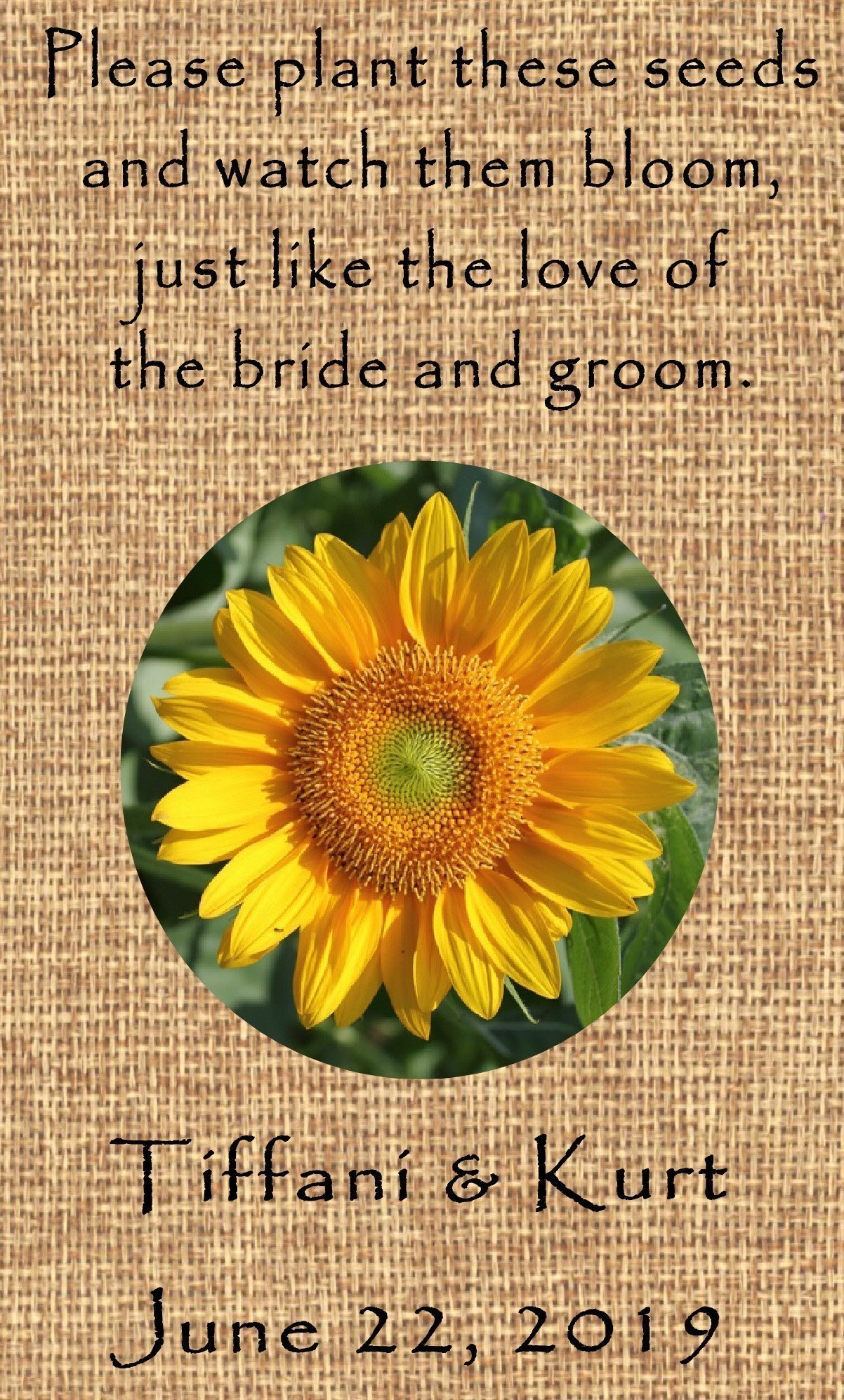 amazoncom personalized wedding favor wildflower seed packets burlap sunflower design 6 verses to choose set of 100 handmade