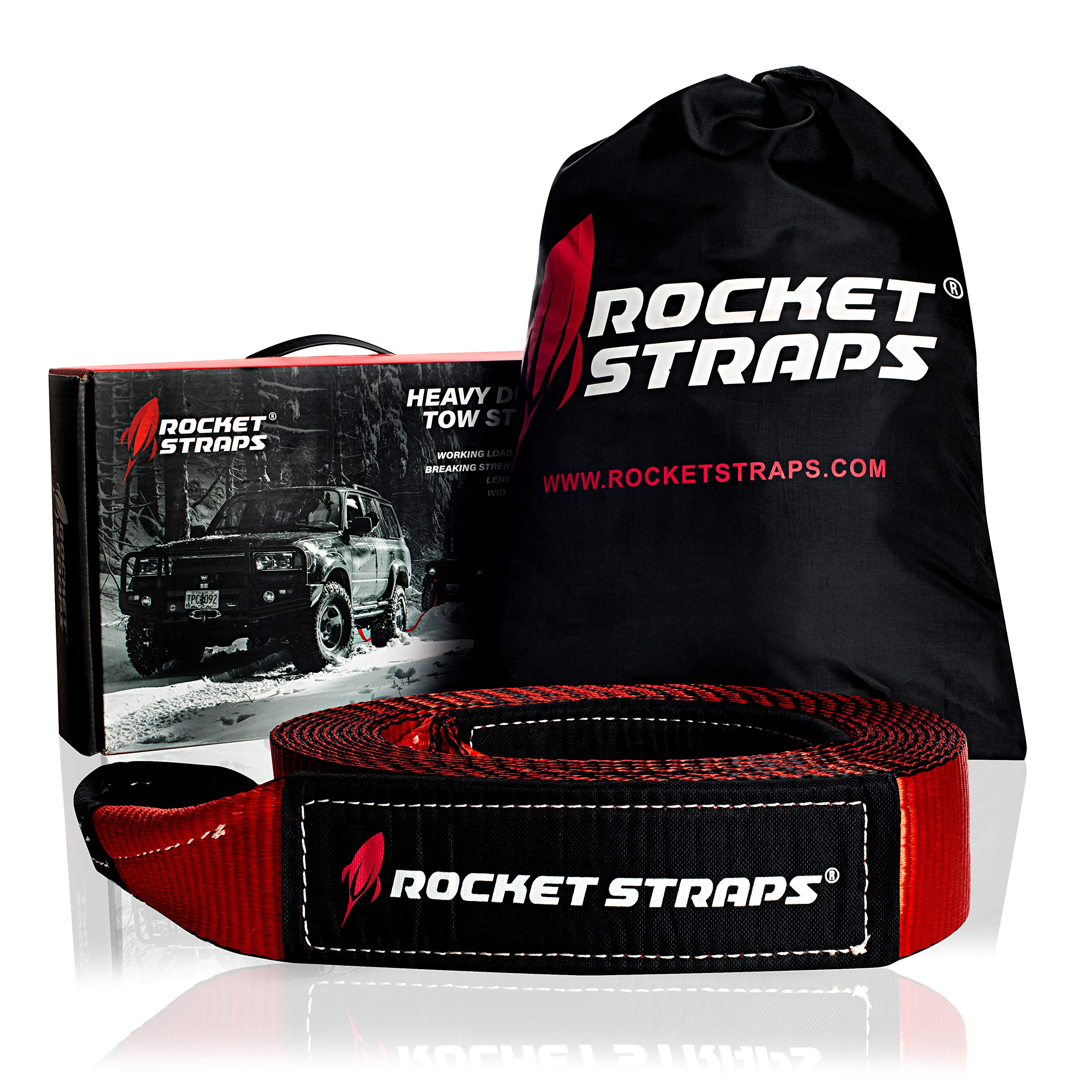 Rocket Straps - 3'' x 30' Heavy Duty Tow Strap | 30,000 LBS Rated Capacity Recovery Strap | Vehicle Tow Straps with Protected Loop Ends | Emergency Off Road Truck Accessories Towing Rope | Storage Bag by Rocket Straps